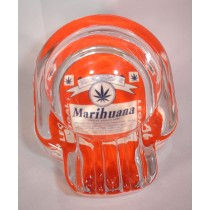 SKULL ASHTRAY - RED MARIHUANA