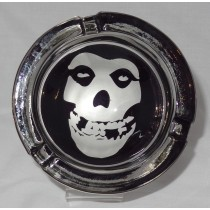 Small Round ASHTRAY - black and white - skull face