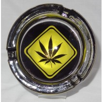 Small Round ASHTRAY - hemp leaf road sign yellow on black
