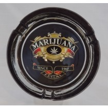 Small Round ASHTRAY - marijuana crest