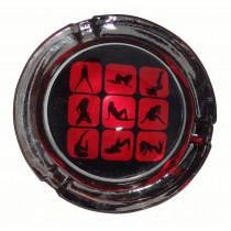 Small Round ASHTRAY - red squares ladies