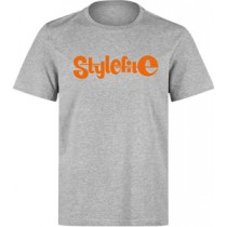 STYLEFILE T-SHIRT HEATHER GREY / ORANGE