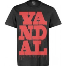 VANDAL WEAR T-SHIRT  -  VANDAL DRIPS RED ON BLACK (LARGE)