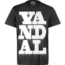 VANDAL WEAR T-SHIRT - VANDAL DRIPS WHITE ON BLACK