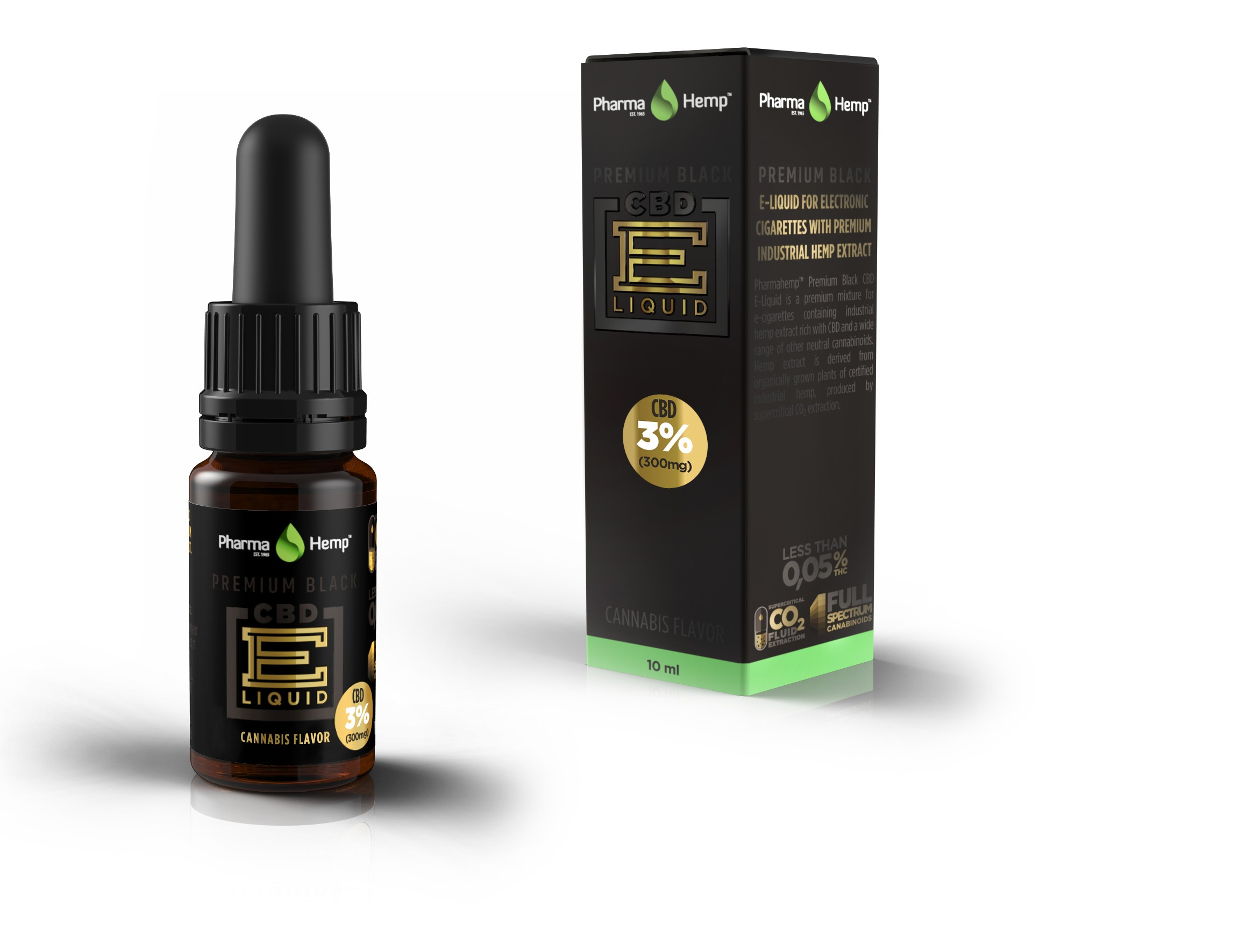 PHARMA HEMP - BLACK PREMIUM - CBD ELIQUID 10ml - 3% / 300mg - (HEMP)