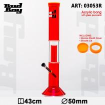 BUD BOY - 03053R CANE ACRYLIC RED BONG