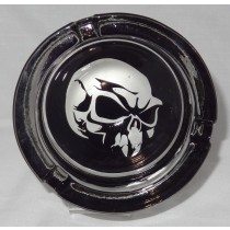 Small Round ASHTRAY - black and white - skull