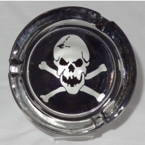 Small Round ASHTRAY - black and white - skull n crossbones