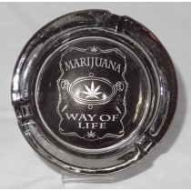 Small Round ASHTRAY - marihuana way of life black