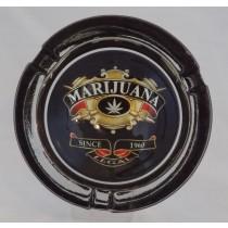 Small Round ASHTRAY - marijuana crest