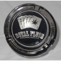 Large Round Glass ASHTRAY - royal flush