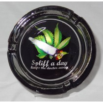 Small Round ASHTRAY - spliff a day keeps the doctor away